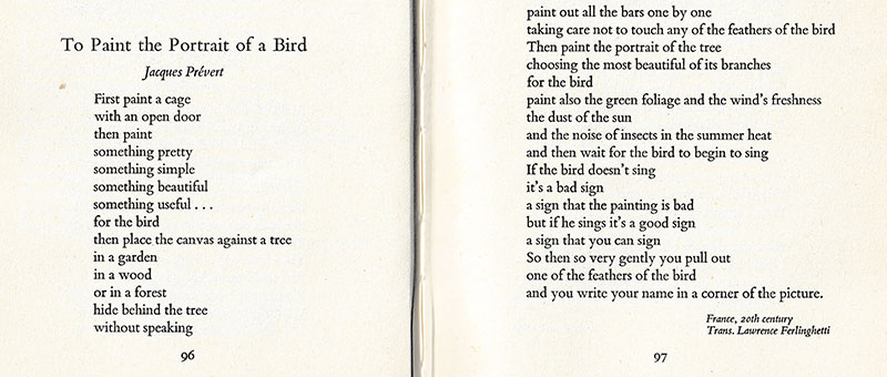 "Scan of the beginning and end of the poem, ""To Paint the Portrait of a Bird"" from David Mackay's, ""A Flock of Words"""